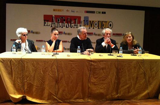 Chus Lampreave, Aida Folch, Fernando Trueba, Jean Rochefort y traductora